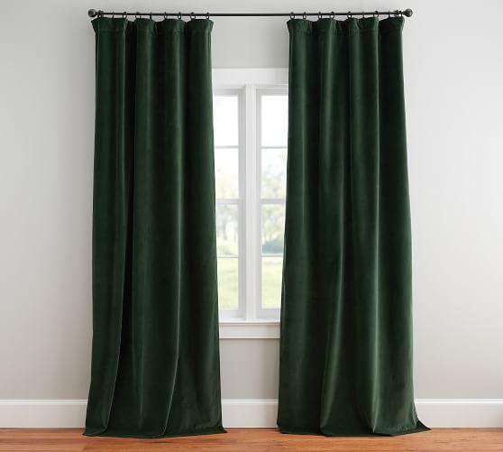 Velvet Twill Drape Hunter Green Curtains Drapery Huntergreen