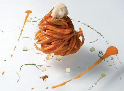 Spaghetti with prawn sauce and shrimp juice, olive oil and red pepper- Massimiliano Alajmo