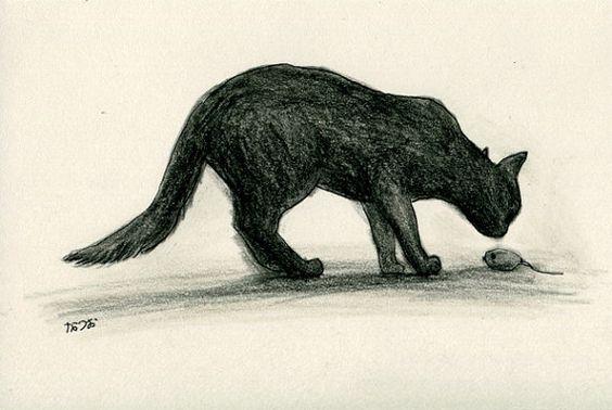 Cat original drawing  P027November2015 by kushun55 on Etsy