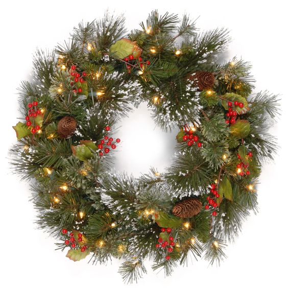 National Tree Company 24-inch Wintry Pine Wreath with Clear Lights