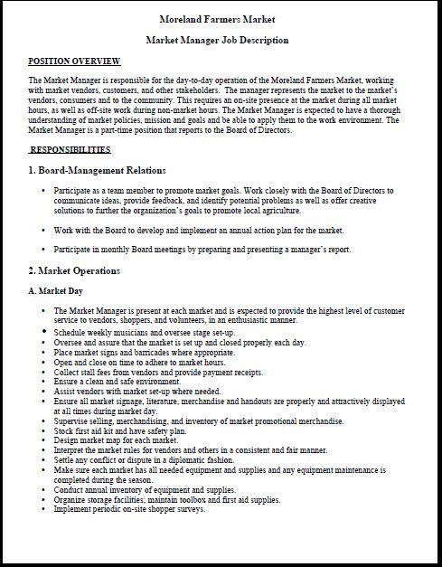 Moreland Farmers Market Market Manager Job Description HttpWww