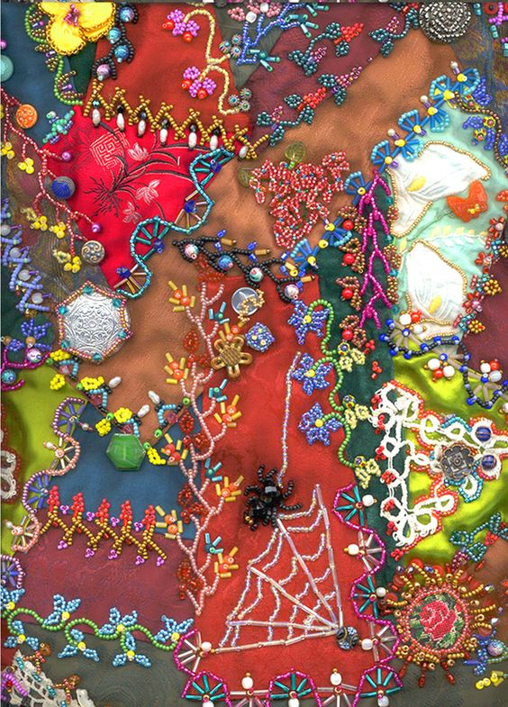Beading on a crazy quilt: