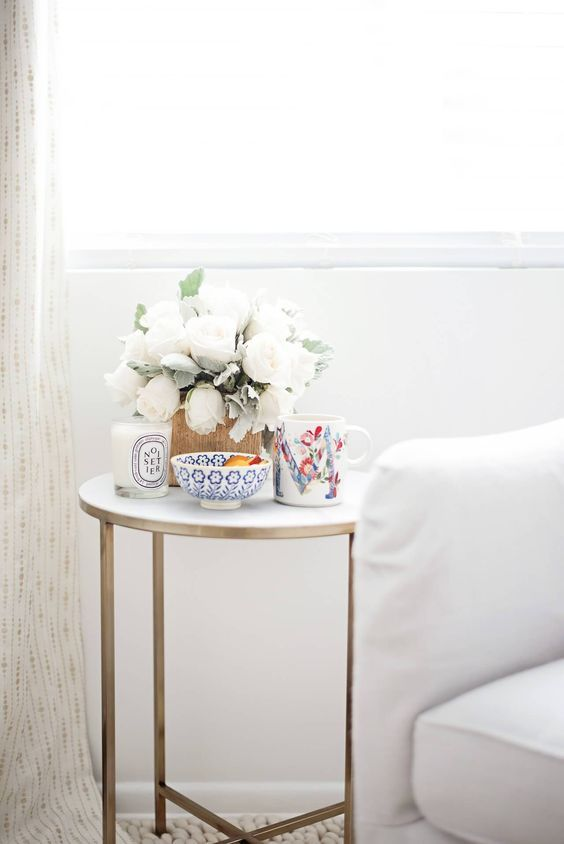 Quiet Mornings At Home Marble Side Table With Flowers And Coffee With Images Side Table Decor Living Room Side Table Decor