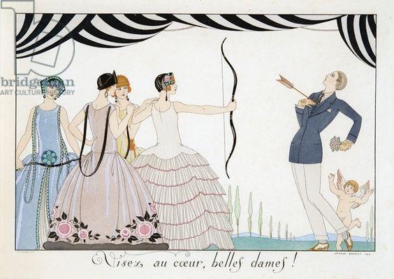 Visez au coeur, belles dames!, engraving by H. Reidel, 1924 (pochoir print)