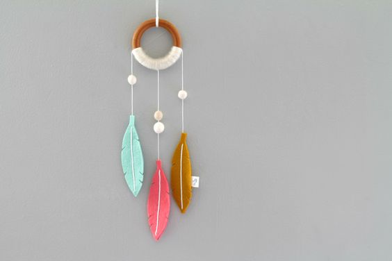 Felt and Wood Nursery Dream Catcher. Mint Coral Nursery Decor. Modern Dreamer for Girls Room. Minimalist Tribal Wall Hanging. by OrdinaryMommy on Etsy https://www.etsy.com/au/listing/230389721/felt-and-wood-nursery-dream-catcher-mint