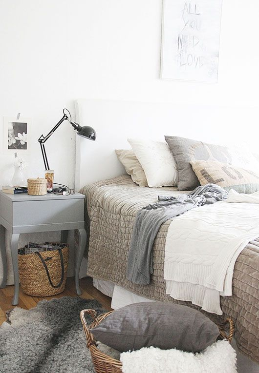 Cozy neutral bedroom... love that khaki-colored (velvet?) bedspread…