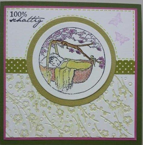 """Kaart """"100 % schattig gestempeld 15 x 15 cm"""