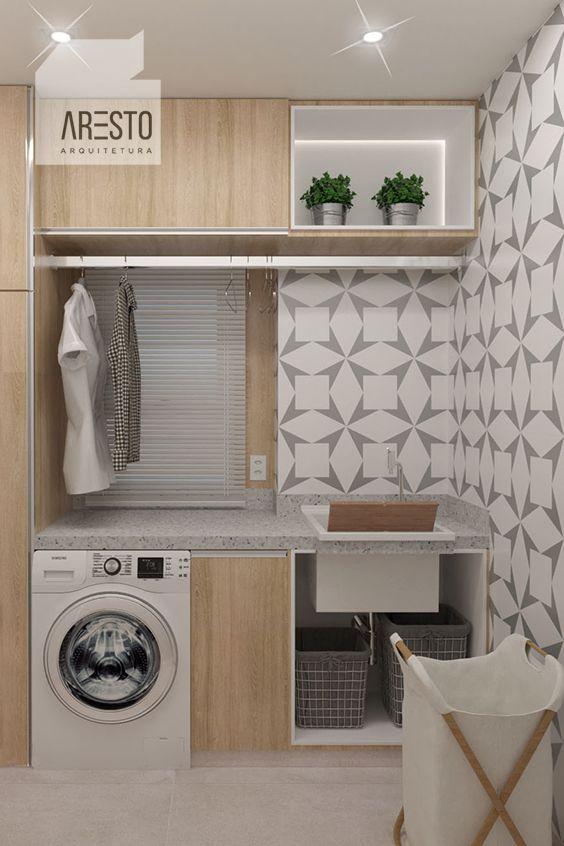Lavanderia linda, pequena e funcional revestimento em mdf e azulejo Tundra da Mica Estúdio. #arquitetura #architecture #lavanderia #arestoarquitetura #laundry