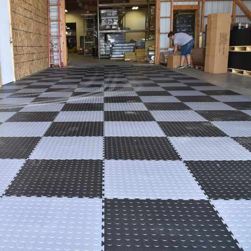 Industrial Pvc Coin Garage Tile Floors For Warehouses Buildings In 2020 Garage Floor Garage Floor Tiles Garage Tile