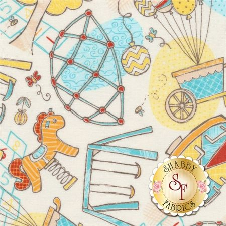 This fabric features an all over design on a cream background of the toys and activities you would expect to find at a playground: swing sets, balloons, hopscotch, slides, merry-go-rounds, jungle gyms, and more!