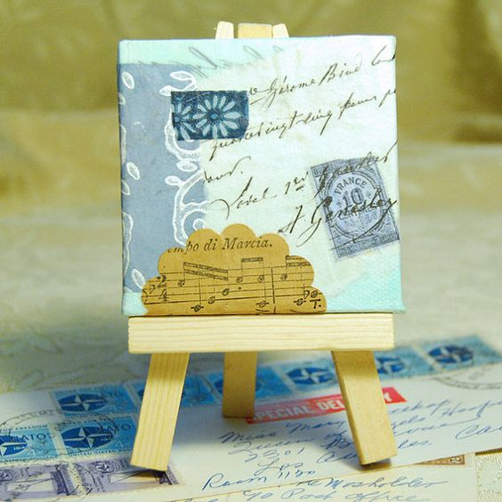 Blue Bits Mini Collage by twohandgallery on Etsy
