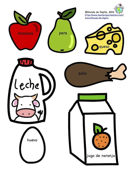 FREEBIE Printable Spanish foods you can make into fridge magnets or include in a shopping theme. Visit our blog to download. Mundo de Pepita, Resources for Teaching Spanish to Children