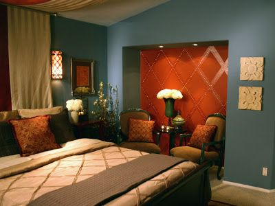 Teal burnt orange red brown home decorations to properly for Burnt orange bedroom ideas