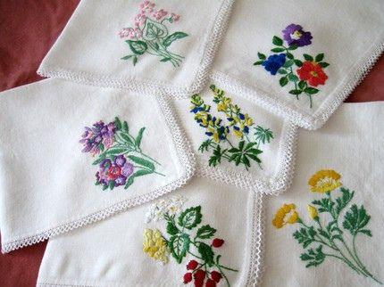 Vintage Hand Embroidered Napkins | Embroidery | Pinterest | Vintage Hands And Napkins
