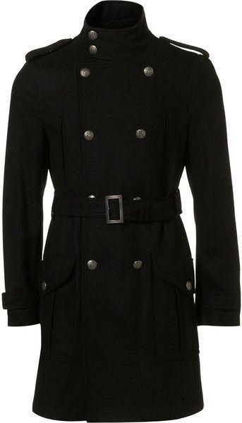 long black Military Trench Coats For Men | Topman Black Wool