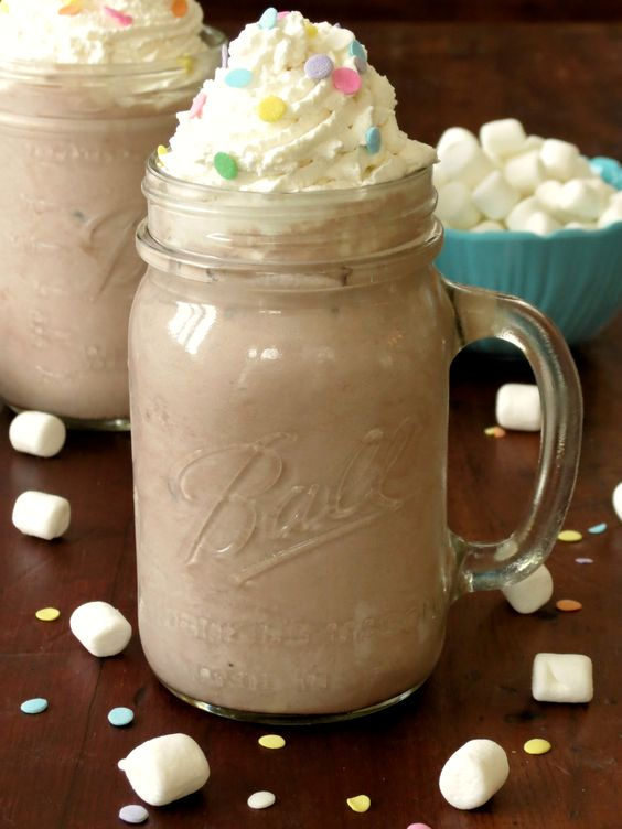 Creamy Frozen Hot Chocolate with Homemade Whipped Cream. Excellent recipe for whipped cream