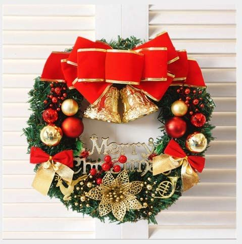 Luxury Pre-Lit Xmas Wreath Door Window Wall Hanging Ornaments Garland Ideal for Inside and Outside Decoration Christmas Front Door Wreath with LED Lights