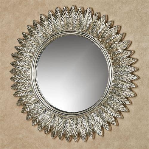 Ella Leaves Silver Gold Round Wall Mirror Round Wall Mirror