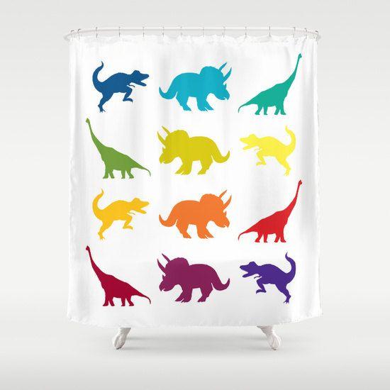 Curtains Ideas boys dinosaur curtains : Dinosaur Shower Curtain - Dinosaur, Tyrannosaurus Rex colorful ...