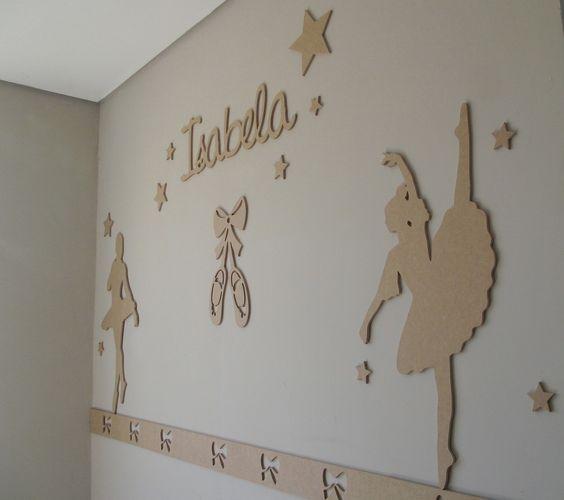 painel bailarina de decoração para quarto bebê mdf cru 6mm