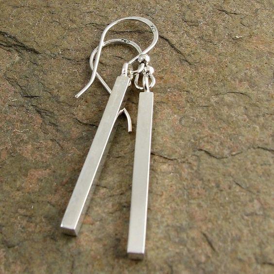 Modern Sterling Silver Earrings Square Bar Dangle Earrings Minimal Jewelry Sleek Simple Geometric Classic. $59.00, via Etsy.
