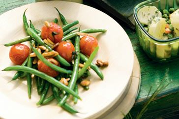 Green Bean, Roast Tomato and Almond Salad.