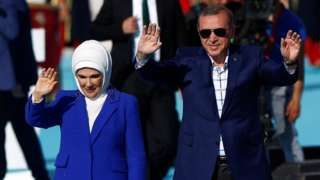 Turkish President Erdogan, accompanied by his wife Emine. Photo: May 2016. No words, I just feel sorry for one with such a closed mind