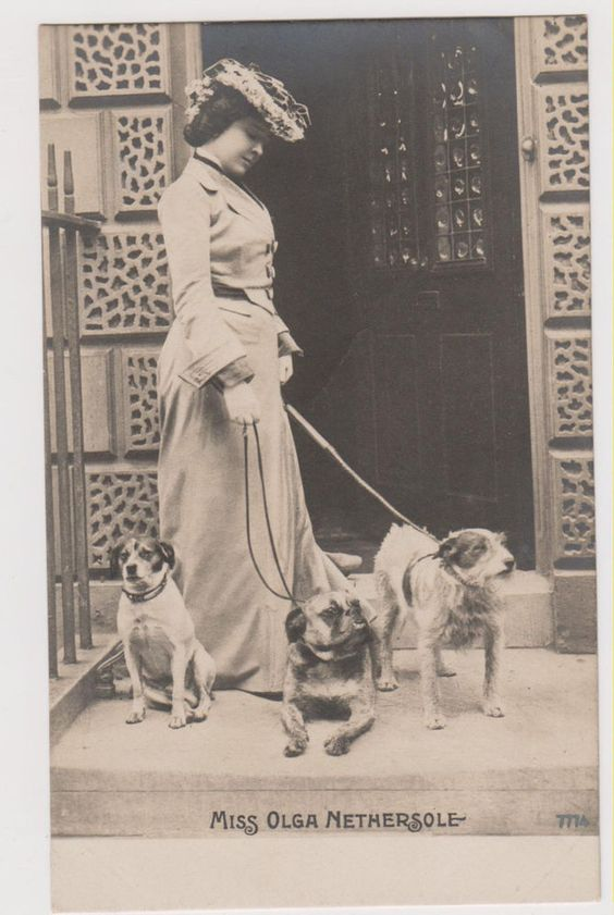 BULLDOGS & YOUNG LADY RPPC real photo postcard Rotophot bulldog postcard 1901-1907