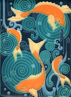 MOTAWI koi tile orange aqua teal turquoise: