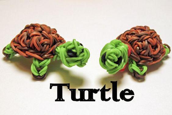 Rainbow Loom 3D Turtle Charms by Elegant Fashion 360 #turtles #rainbowloom #diy