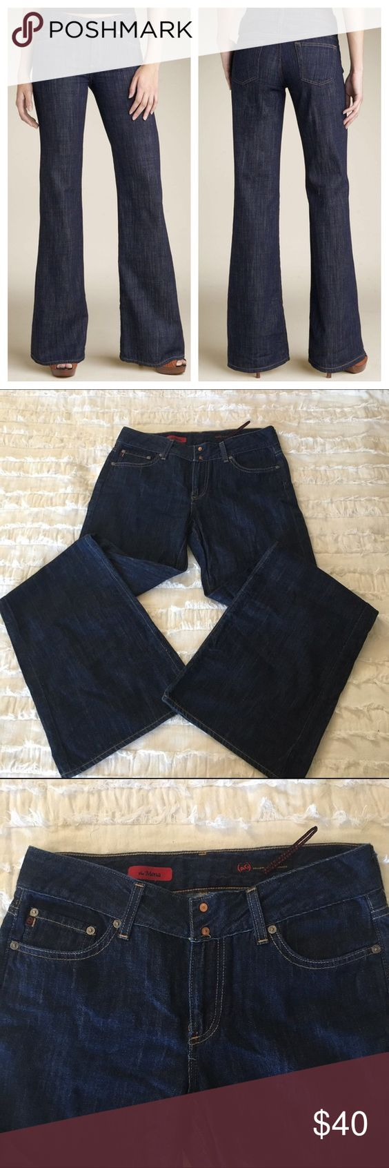 """AG   Adriano Goldschmied {The Mona} Widelegs Size 30R wide-leg, dark denim jeans in great used condition. Approx measurements: 32"""" waist // 33.5"""" inseam // 43.5"""" length. No trades or pp. **covershot is a stock photo, last three are the actual item** AG Adriano Goldschmied Jeans Flare & Wide Leg"""
