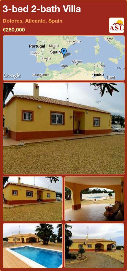 3-bed 2-bath Villa in Dolores, Alicante, Spain ►€260,000 #PropertyForSaleInSpain