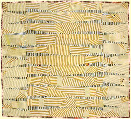 """Untitled #9, 2009, 35"""" x 39"""", 100% cotton, machine pieced, hand quilted by Sarah Nishiura"""