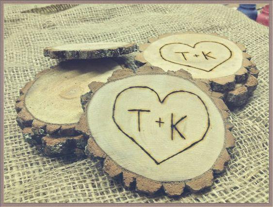 Personalized Wood Burned Tree Slice,wedding Favor,table
