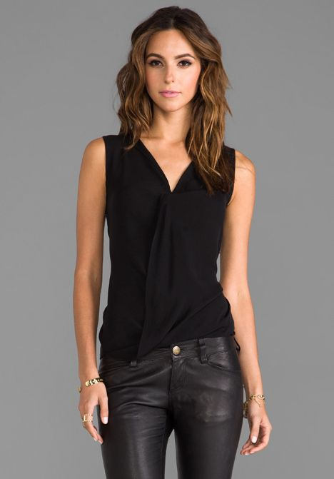 THEORY Parlier Sleeveless Blouse in Black at Revolve Clothing ...