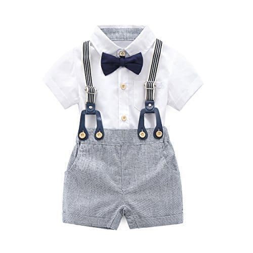 Toddler Infant Baby Boy Gentleman Suit Bow Tie Shirt Suspender Shorts Outfit Set
