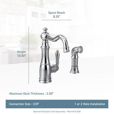 Moen S72101 Weymouth Low Arc Kitchen Faucet With Side Spray Spot