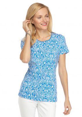 Kim Rogers  Short Sleeve Folk Batik Top