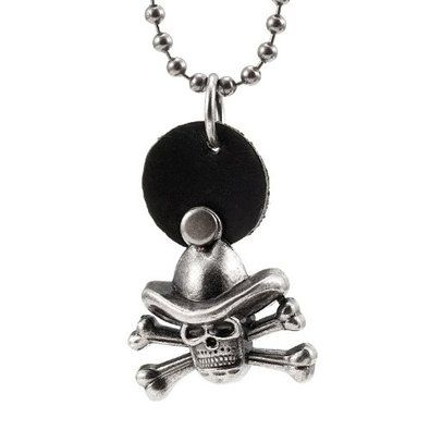 R&B Joyas - Collar hombre, cadena bolas con colgante cráneo estilo pirata con 2 huesos, metal y cuero, color negro / plateado: Amazon.es: Joyería