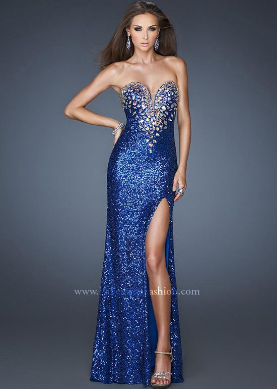 Beautiful blue sequin dress  La Femme 18456  Long Dresses ...