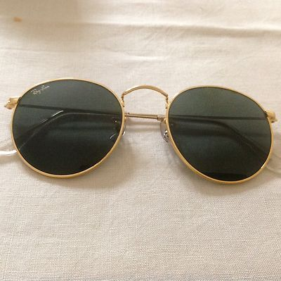 ray ban arista  vintage ray ban bausch and lomb blue mirror gold round sunglasses