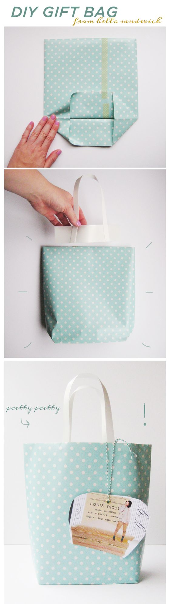 wow look at this DIY gift bag...love this idea, the polka dot gift wrap paper helps too x: Wrapping Paper, Giftbag, Diy Gift, Diy Craft, Homemade Gift Bag, Wrapping Gift