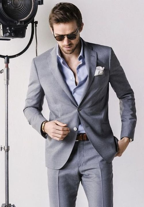Gray suit with light blue shirt men fashion suitably dressed