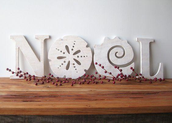 NOEL, Christmas decoration, beach, coastal, word sign, cottage, shabby chic, sand dollar, seashell. $79.00, via Etsy.