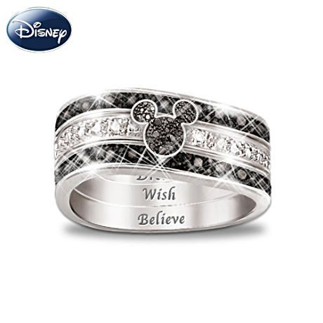 """I'm a sucker for sparkly Mickey Mouse things...Mickey Mouse """"Hidden Message"""" Three Band Engraved Ring"""