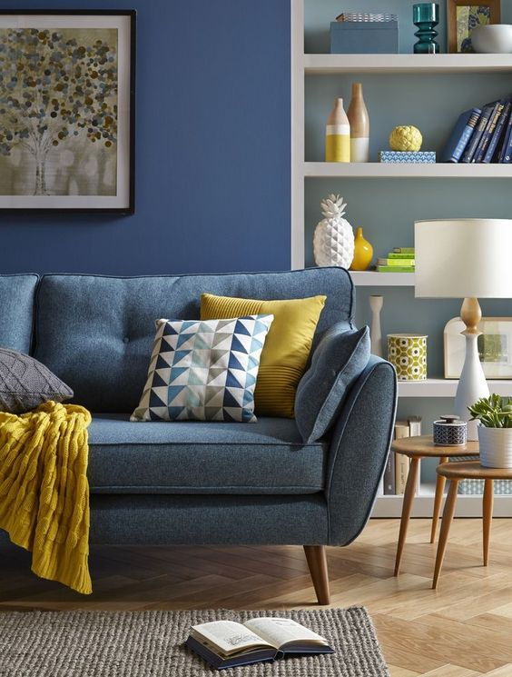 Neutral Living Room With Blue Sofa  Electric Blue Neutral And Simple Blue Sofa Living Room Design Design Inspiration