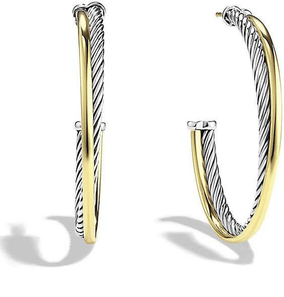 David Yurman Crossover Extra Large Hoop Earrings with Gold on shopstyle.com