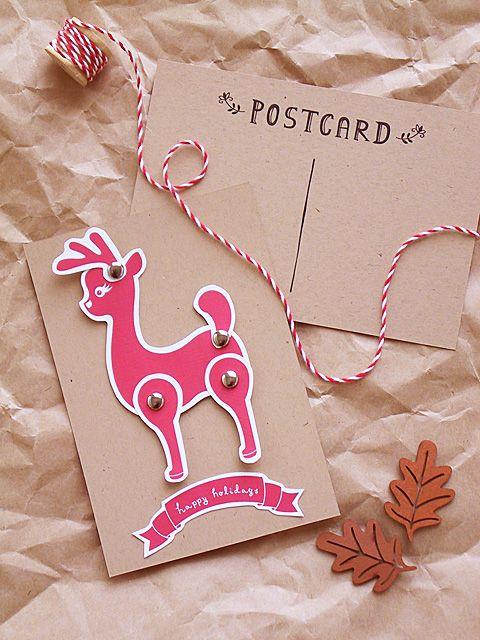 DIY Reindeer Holiday Postcard