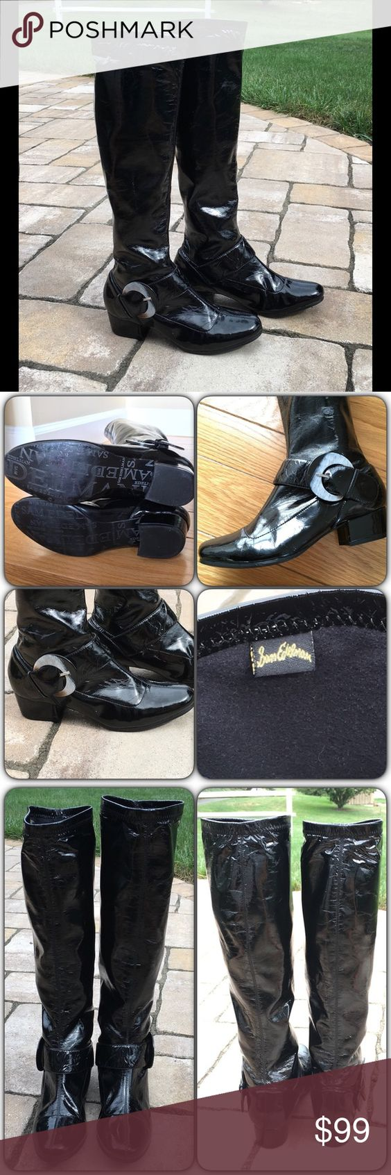 """Sam Edelman Boots Very good condition, black patent boots with shell-like beige-ish/cream and black buckle accents on each boot. Heel is b/w 1 1/4""""-1 1/2"""" high; shaft is about 16.5"""" and top circumference is about 13.5"""" around. Very minor/small scuff on back of left heel which has been filled in with black shoe polish. These are pull on boots (no zipper) with a bit of stretch in material. Sam Edelman Shoes Heeled Boots"""