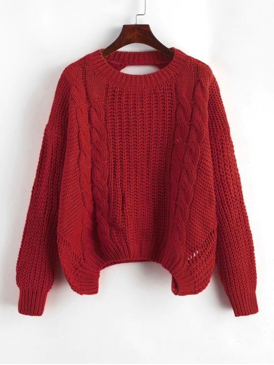 Drop Shoulder Cable Knit Cut Out Back Sweater - Red